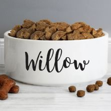 Personalised  Dog Gifts: Any Name 16cm Large White Pet Bowl